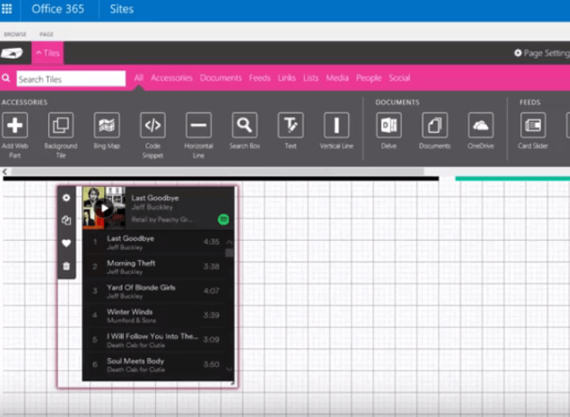 Integrate Spotify and Office 365 using Code Snippet