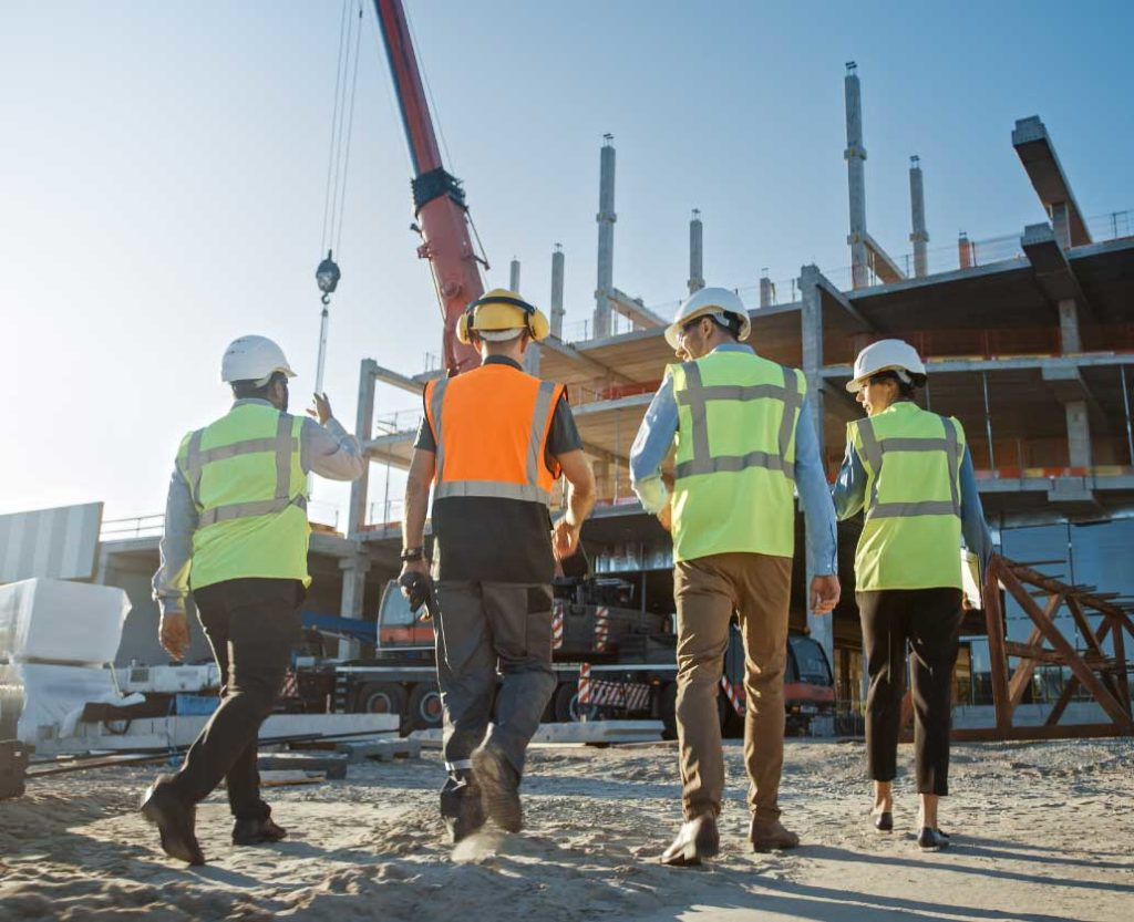 Construction site with engineers
